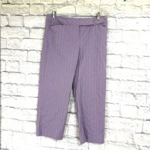 LOFT Pants Capris Purple Swiss Dots Stripe stretch